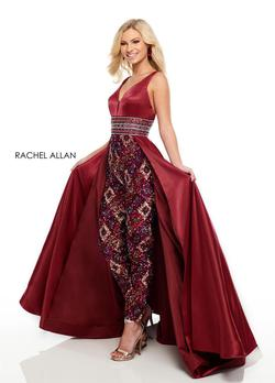 Style 7061 Rachel Allan Red Size 4 Jewelled Backless Jumpsuit Dress on Queenly