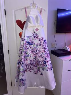 Blush White Size 0 Floral Halter Tall Height Ball gown on Queenly