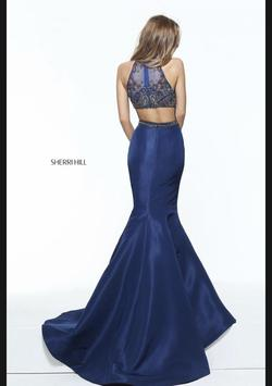 Style 50975 Sherri Hill Blue Size 6 Halter Mermaid Dress on Queenly