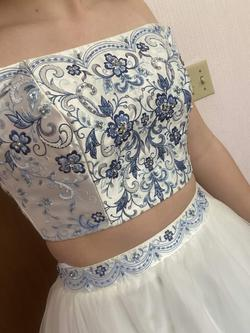 Alyce Paris White Size 4 Floral Blue Ball gown on Queenly