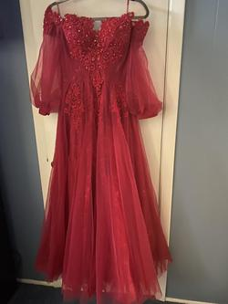 Queenly size 6 Etsy Red A-line evening gown/formal dress