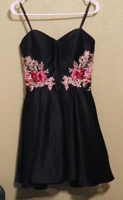 Blondie Nites Black Size 4 Strapless Floral Cocktail Dress on Queenly