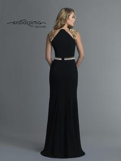 Style 4035 Saboroma Black Size 12 Gold Halter Mermaid Dress on Queenly