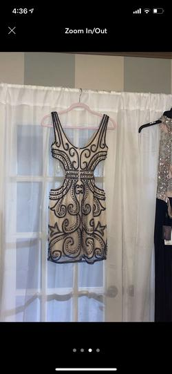 Gianni Bini Nude Size 6 Silver Sheer Cocktail Dress on Queenly