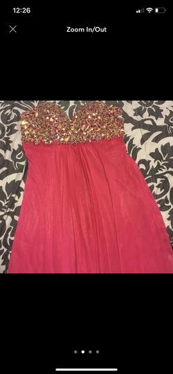 Terani Couture Pink Size 8 Strapless A-line Dress on Queenly
