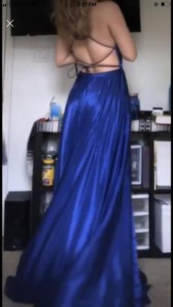 Sherri Hill Blue Size 6 Side Slit Corset Silk A-line Dress on Queenly