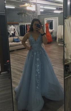 Ellie Wilde Light Blue Size 4 Plunge Ball gown on Queenly