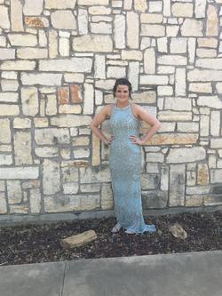Sherri Hill Blue Size 8 Halter Corset Mermaid Dress on Queenly