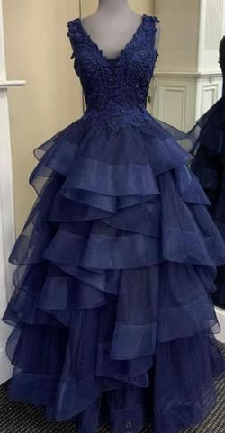 Ellie Wilde Blue Size 4 Ruffles Pageant Ball gown on Queenly