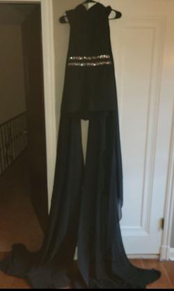 Queenly size 2 Mac duggal Black Jumpsuit evening gown/formal dress