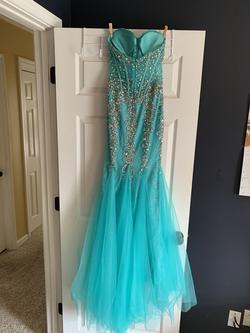 Jovani Blue Size 0 Corset Sheer Mermaid Dress on Queenly