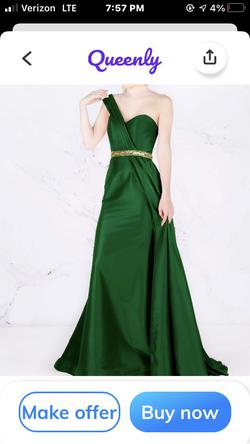 Mac Duggal Green Size 00 One Shoulder Pageant A-line Dress on Queenly