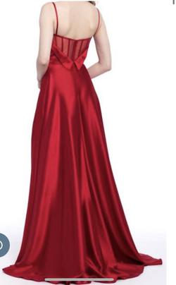 Camille La Vie Red Size 12 Prom Side slit Dress on Queenly