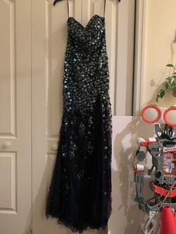 Jovani Blue Size 8 Mini Side slit Dress on Queenly