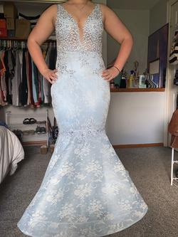 Dave & Johnny Blue Size 8 Train Sheer Lace Mermaid Dress on Queenly