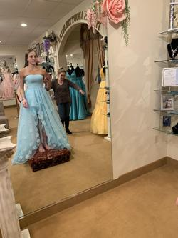 Sherri Hill Light Blue Size 4 Ball gown on Queenly