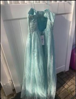 Davids bridal Blue Size 18 Shiny Plus Size A-line Dress on Queenly