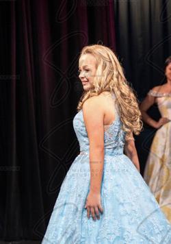 Sherri Hill Light Blue Size 6 Short Height Halter Ball gown on Queenly