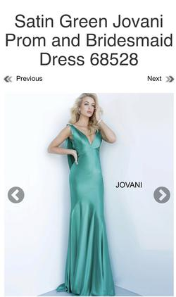 Style 68528 Jovani Green Size 4 Backless Plunge Pageant A-line Dress on Queenly