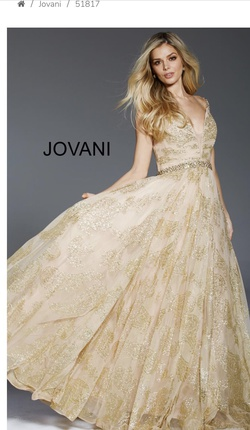 Style 51817 Jovani Gold Size 2 Prom Pageant Ball gown on Queenly