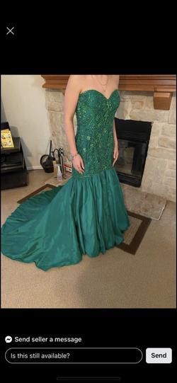 Sherri Hill Green Size 12 Strapless Pageant Mermaid Dress on Queenly