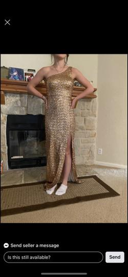 B. Smart Gold Size 4 Prom One Shoulder Straight Dress on Queenly