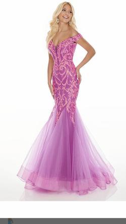 Style 7199 Rachel Allan Pink Size 4 Prom Mermaid Dress on Queenly