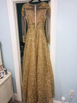 Mac Duggal Gold Size 2 Jewelled A-line Ball gown on Queenly
