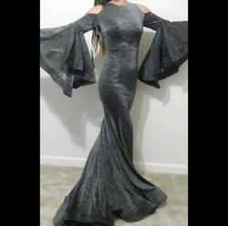 Jonathan Kayne Silver Size 2 Long Sleeve Homecoming Mermaid High Neck Straight Dress on Queenly