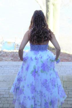 Sherri Hill Purple Size 6 Train Tall Height Lace Ball gown on Queenly