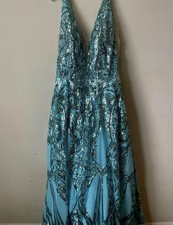 Mori Lee Blue Size 18 Teal Prom Ball gown on Queenly