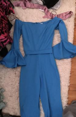 Queenly size 2 Fernando Wong Blue Jumpsuit evening gown/formal dress