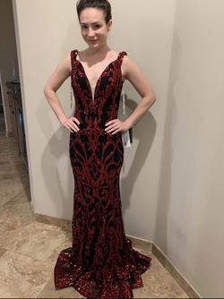 Jovani Red Size 4 Jewelled Tall Height Mermaid Dress on Queenly