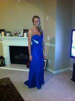 Style 17157 La Femme Blue Size 4 Sweetheart Straight Dress on Queenly