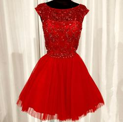 Queenly size 12 Sherri Hill Red Cocktail evening gown/formal dress