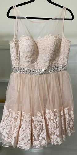 Style 11091 Sherri Hill Pink Size 14 Plunge Plus Size Tulle Cocktail Dress on Queenly