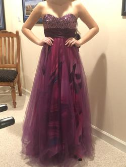 Dancing Queen Purple Size 00 Strapless Multicolor A-line Dress on Queenly