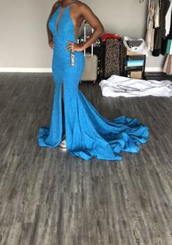 Jovani Blue Size 4 Halter Plunge Pageant Train Dress on Queenly