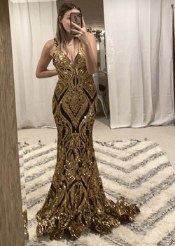 Jovani Gold Size 4 Plunge Shiny Mermaid Dress on Queenly