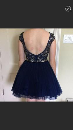 Sherri Hill Blue Size 4 Jewelled Homecoming Short Height A-line Dress on Queenly