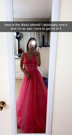 Sherri Hill Pink Size 0 Plunge Ball gown on Queenly