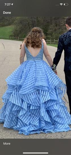 Mori Lee Blue Size 4 Backless Ball gown on Queenly