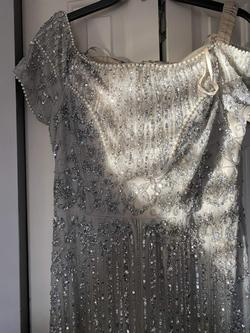 Adrianna Papell Silver Size 14 Plus Size Sequin Straight Dress on Queenly