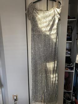 Queenly size 14  Silver Straight evening gown/formal dress