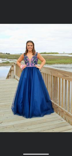 Mori Lee Blue Size 12 Floral Plunge Ball gown on Queenly