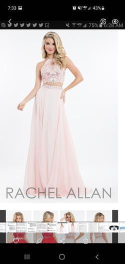 Rachel Allan Pink Size 6 Two Piece Halter A-line Dress on Queenly