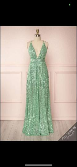 Queenly size 6  Green A-line evening gown/formal dress