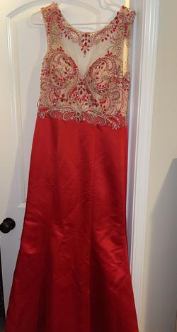 nox Red Size 8 Sheer Embroidery Mermaid Dress on Queenly