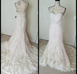 Martina Liana White Size 10 Train Sweetheart Lace Mermaid Dress on Queenly