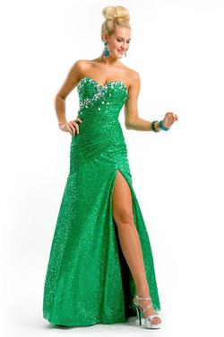 Style 6133 Party Time Formals Green Size 4 Side slit Dress on Queenly